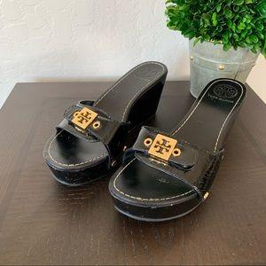Tory Burch Black Patent Leather Wedge Slide Sandal